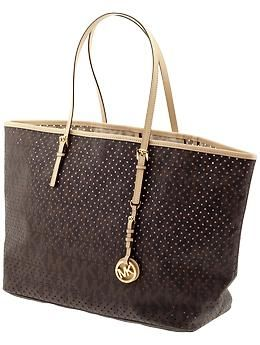0b1f1e2ef5b3 MICHAEL Michael Kors Signature Perforated Jet Set Medium Travel Tote ...