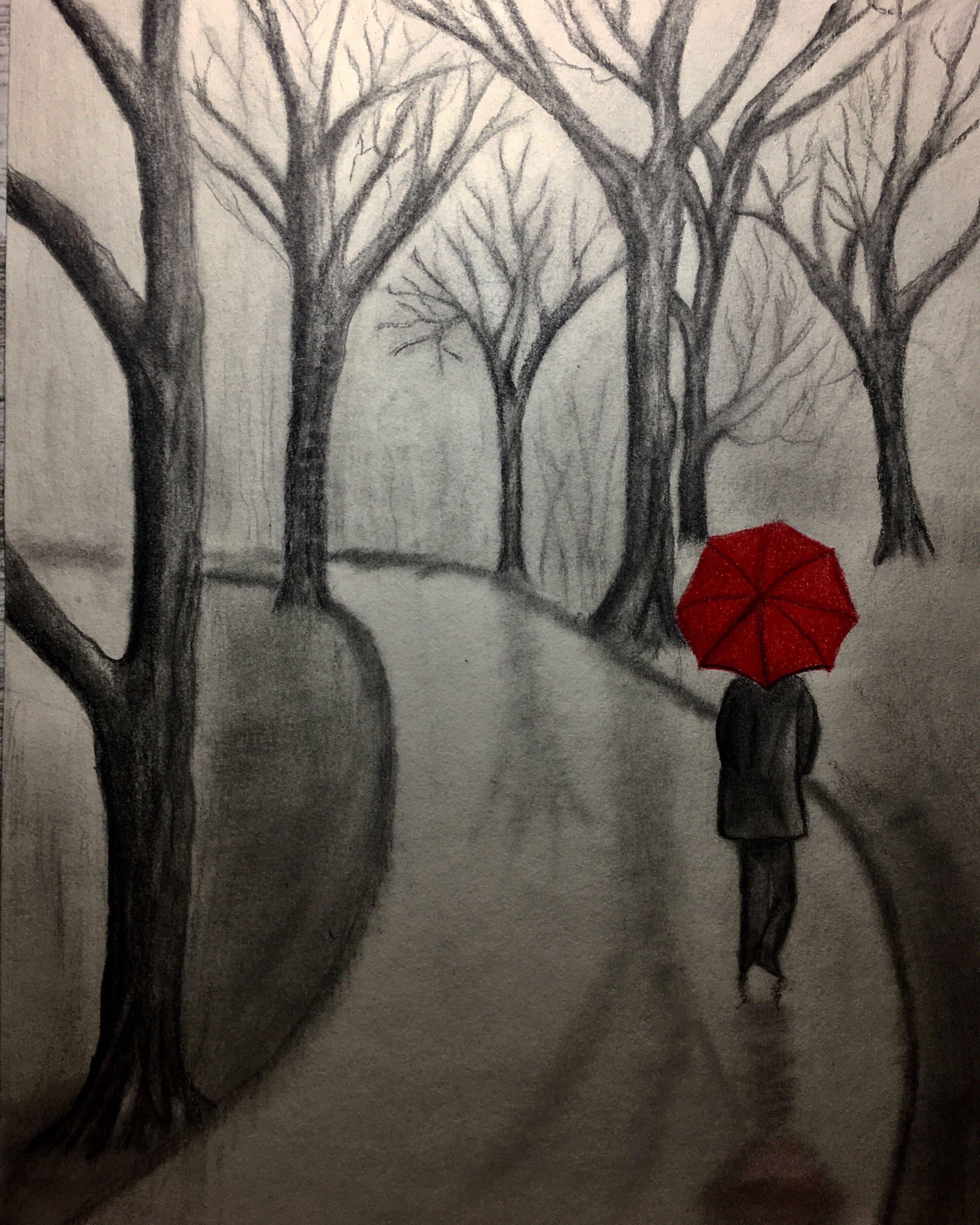 #drawing#karakalem#ağaç#şemsiye#yol#resim