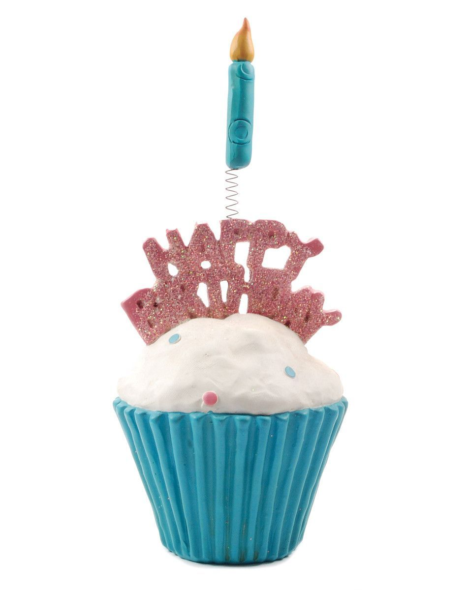 Glitter Happy Birthday Cupcake With Candle Sculpture Set Of 2