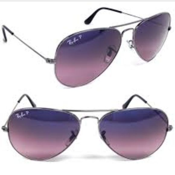 92359ff2a67 Ray Ban polarized aviators - brand new Ray Ban sunglasses - brand new in  case with lens cloth. Gunmetal with blue pink polarized gradient lenses