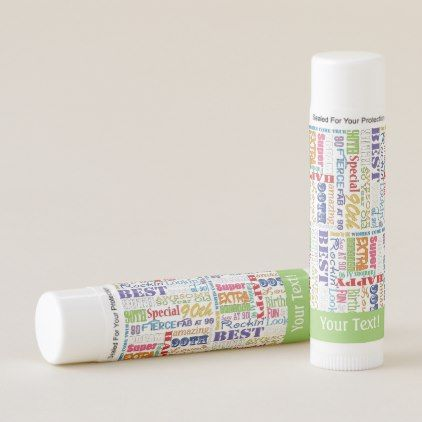 Fun 90th Birthday Party Personalized Monogram Lip Balm | Zazzle.com