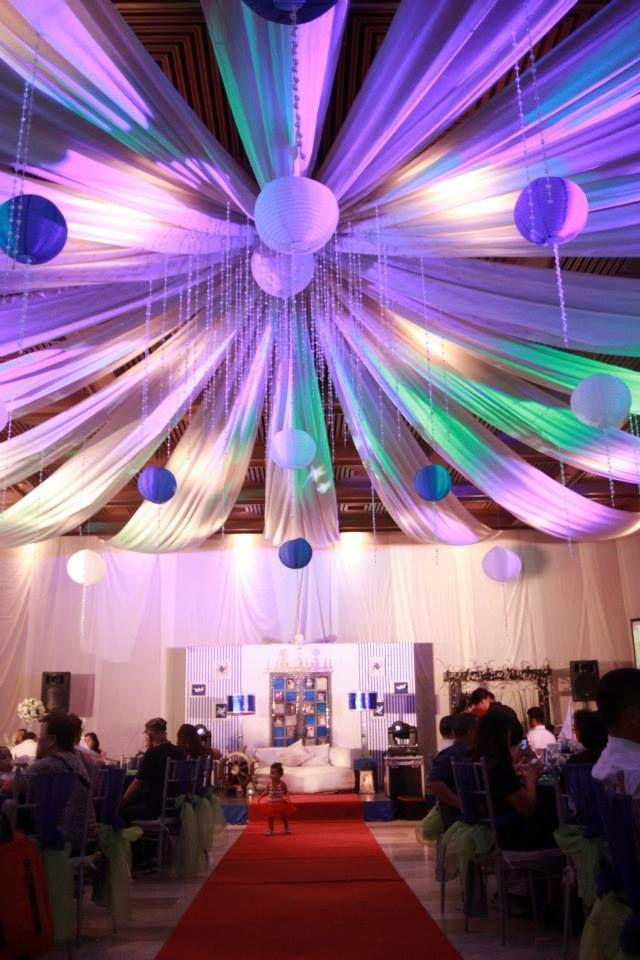 mood lights, drapes, drop crystals and paper lanterns