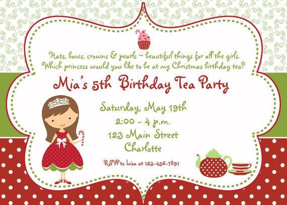 princess tea party christmas birthday party invitation christmas