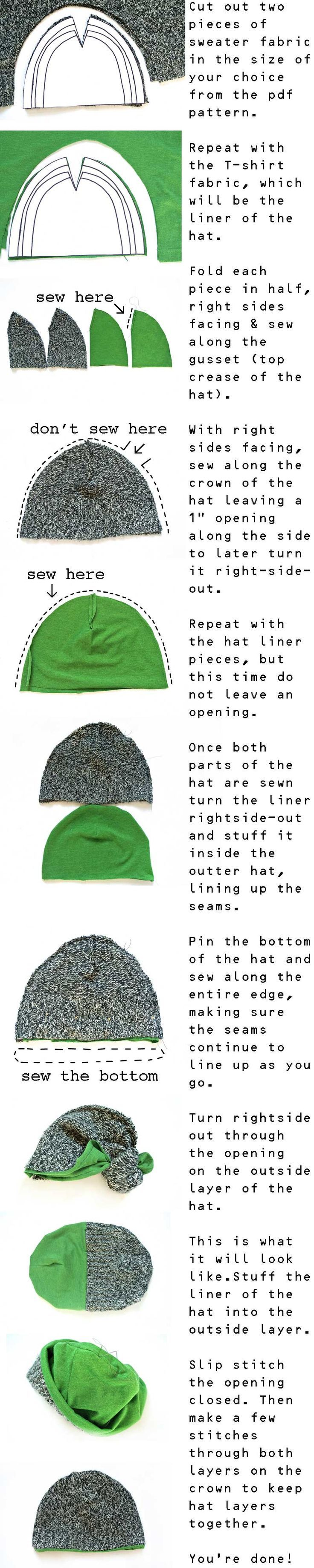 Here is a very simple tutorial to make cute hats from repurposed ...
