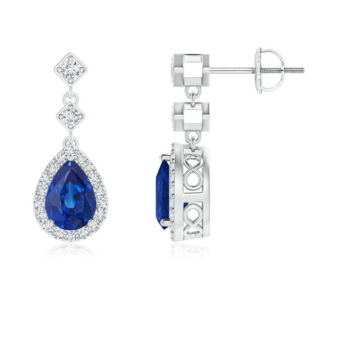 Angara Dangling Sapphire and Diamond Halo Earrings in Platinum