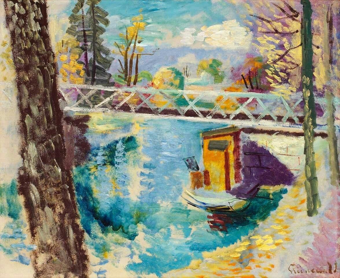 Isaac Grünewald (Sweden 1889-1946) Summertime at Djurgårdsbrunn, Stockholm oil on panel 54 x 50 cm