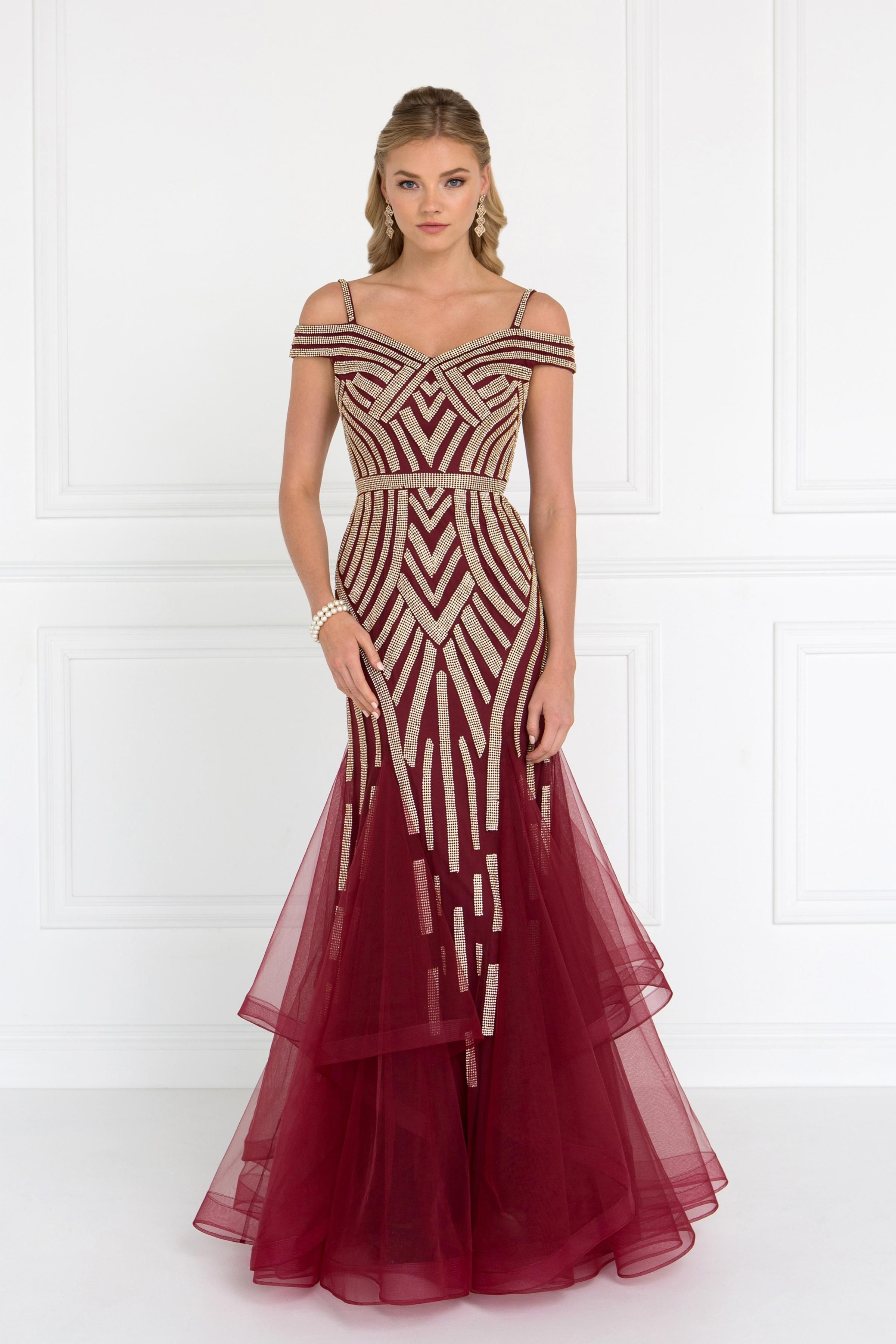 39f43d172c1b5 Mesh Off Shoulder Trumpet Long Dress with Rhinestones Fabric: Mesh Length:  Hollow to Hem 59 Neckline: Off The Shoulder Sleeve: Straps Back: Open, ...
