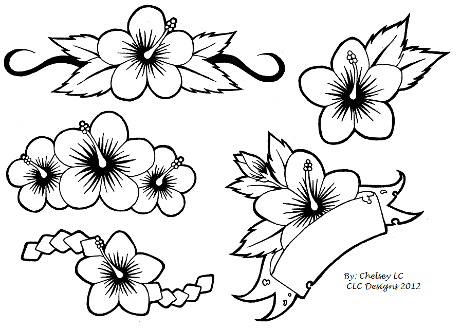 Hibiscus Tattoo Flash Simple Flower Tattoo Hibiscus Tattoo Floral Tattoo Sleeve