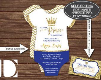 Little Prince Baby Shower Invitation Prince Invitation Royal