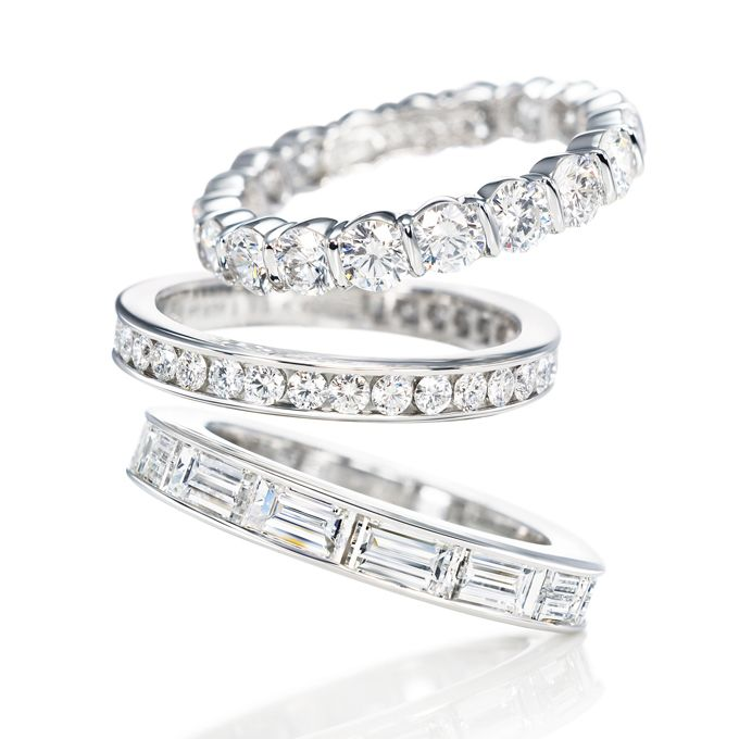 Wedding rings diamond  Classic Winston diamond wedding bands, round prong-set, round ...