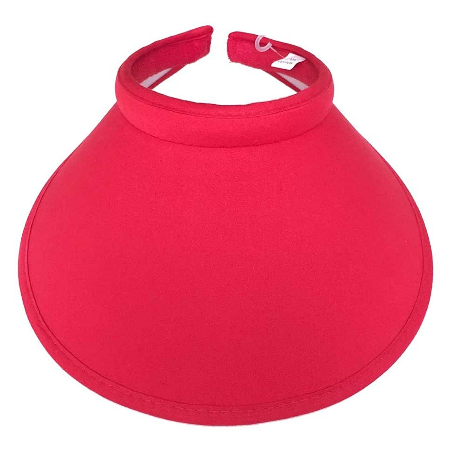 8d0dbf8b266 Big Sun Visor Hat Solid Color Cotton Push On Clip On - Red - C111AX55GGV -  Hats   Caps