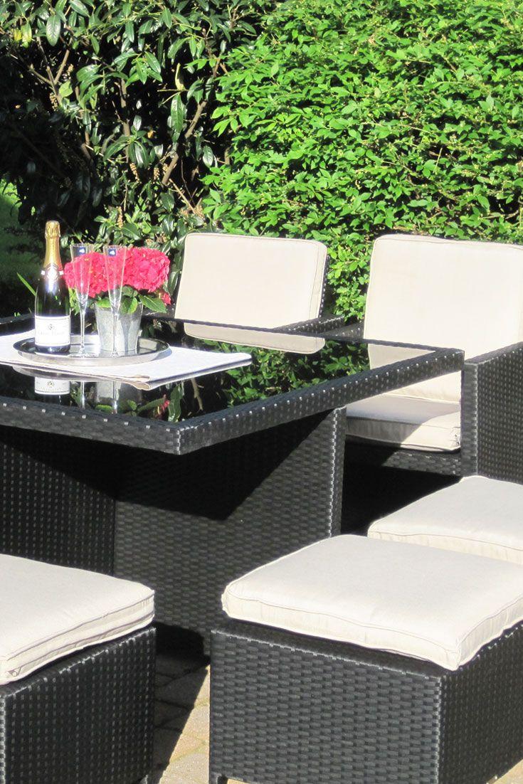 Polyrattan Sitzgruppe Toscana in schwarz (4 Sessel 4 Hocker 1 Tisch ...