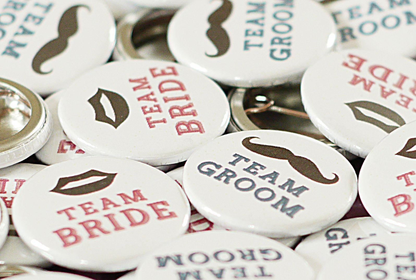 TEAM BRIDE & TEAM GROOM Wedding Favour Pinback Badges - 50 Pack ...