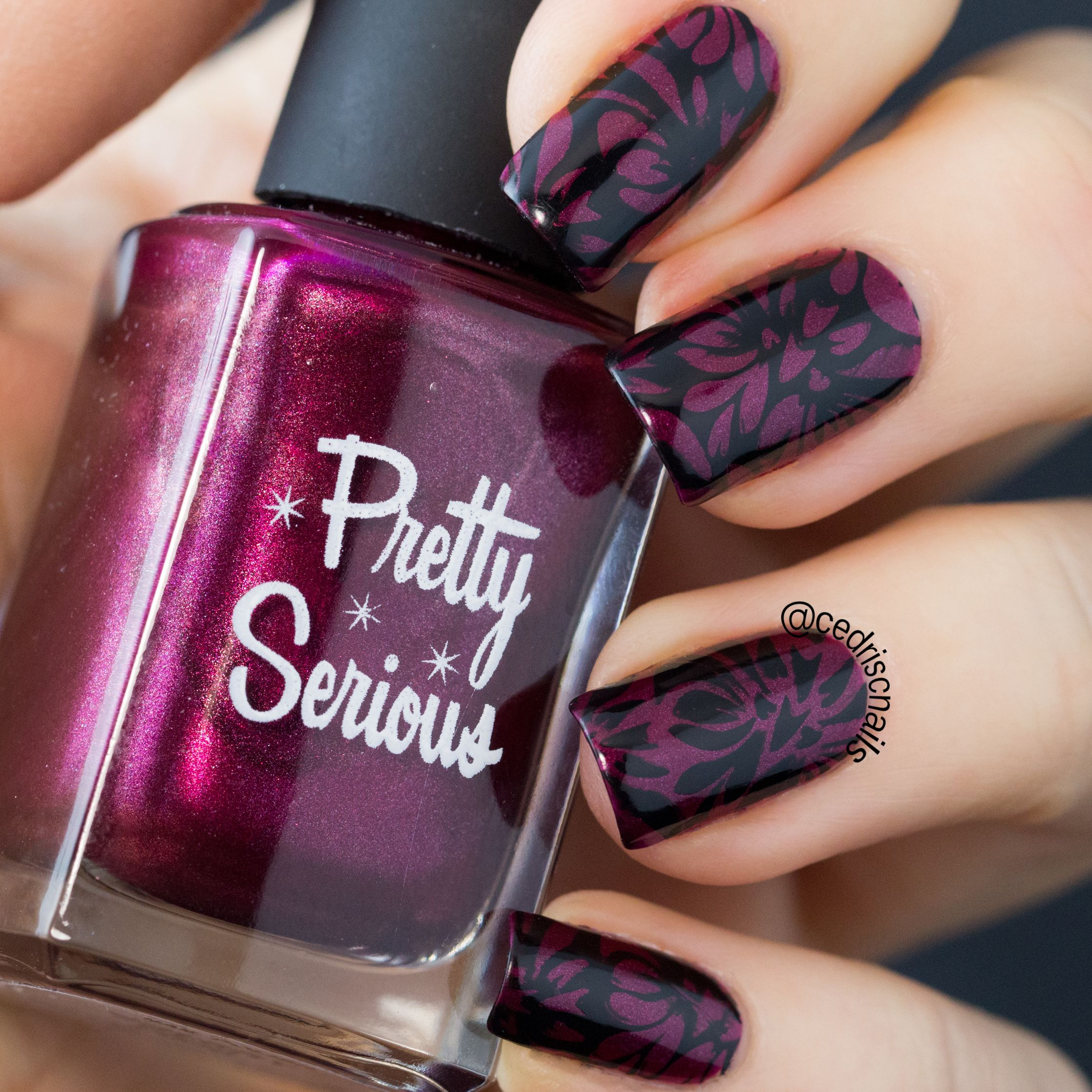 Damask nail art. Polish is Cherry 2000 by Pretty Serious. Images are ...