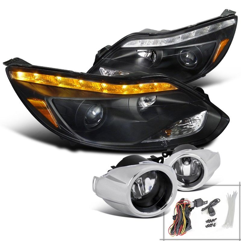 Spec D Tuning 2012 2014 Ford Focus Black Projector Headlights Led Signal Fog Lamp H11 Bulbs Left Ford Focus How To Clean Headlights Projector Headlights