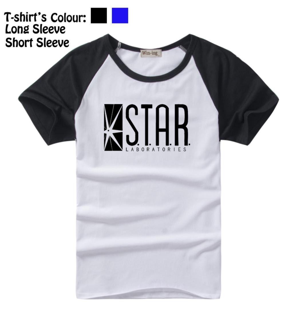 Star Laboratories The Flash Dc Comics Tv Series S T A R Pattern Long Short Sleeves T Shirt Men S Boys Tee Black Or Blue Sleeves Hwd Mens Shirts Mens Tshirts T Shirt