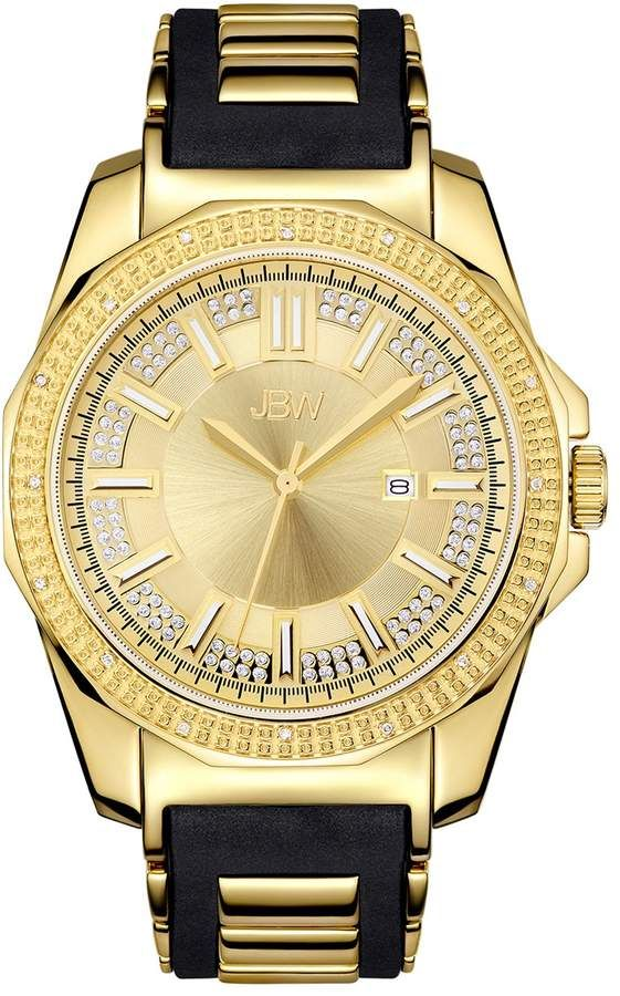 Jbw Men S Regal Diamond Accent Crystal 18k Gold Plated Watch J6332a A Black Rubber Bands Gold Plated Watch Diamond Watch