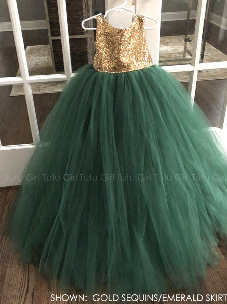 Emerald Green Flower Girl Dress Hunter Green And Silver Sequins
