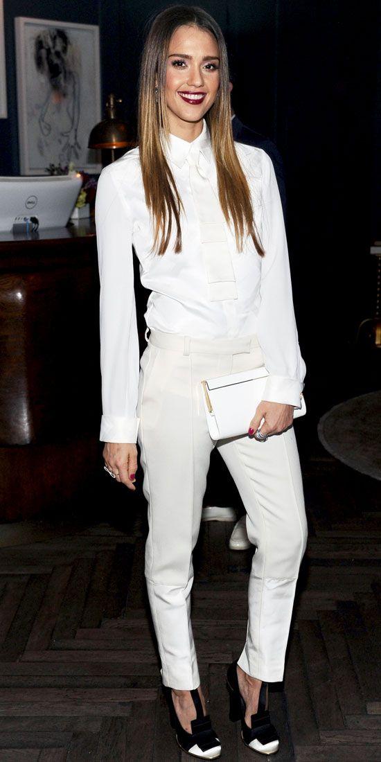 Jessica Alba Wore Tommy Hilfiger Suit Jimmy Choo Clutch Melinda
