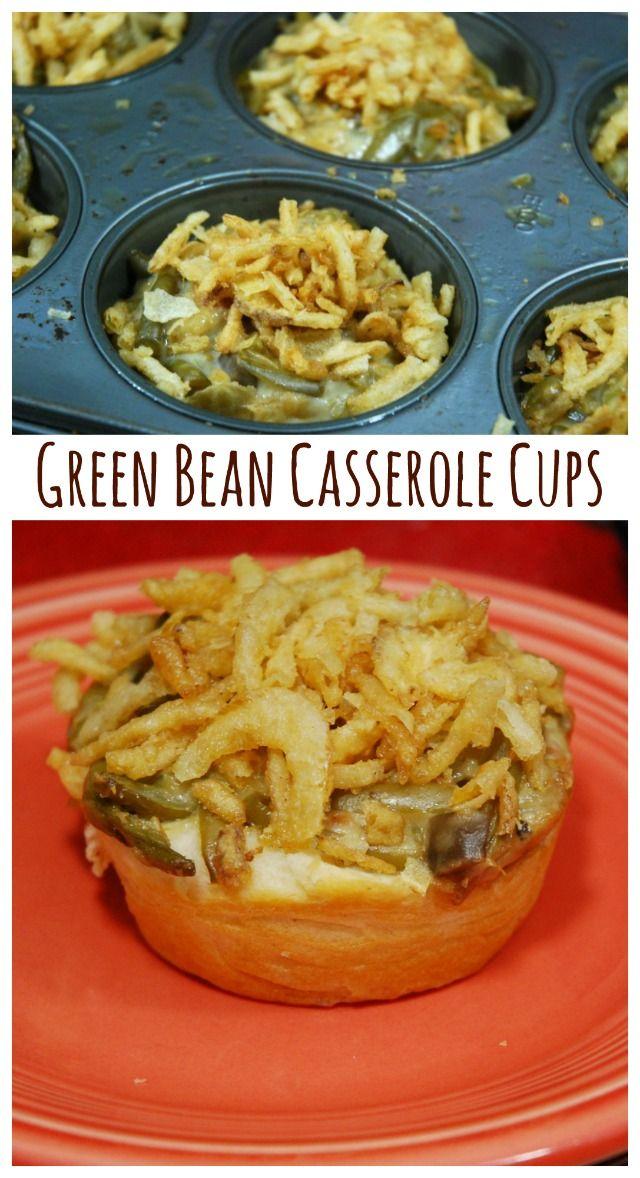 Green Bean Casserole Cups #greenbeancasserole