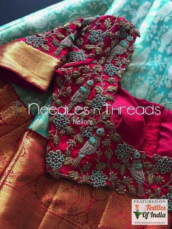 Photo of Heavy embroidery Designer trending Best South Indian Wedding blouse front silk saree