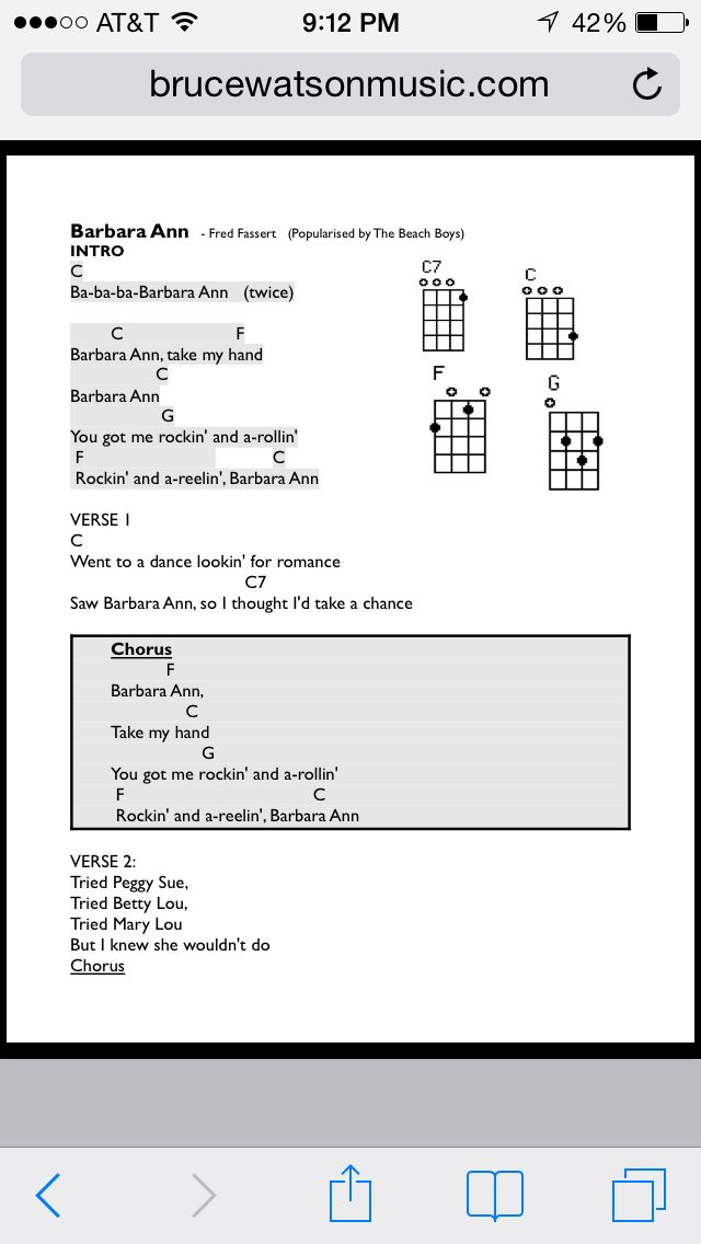 Barbara Ann Uke Chords Uke Songs Pinterest Songs