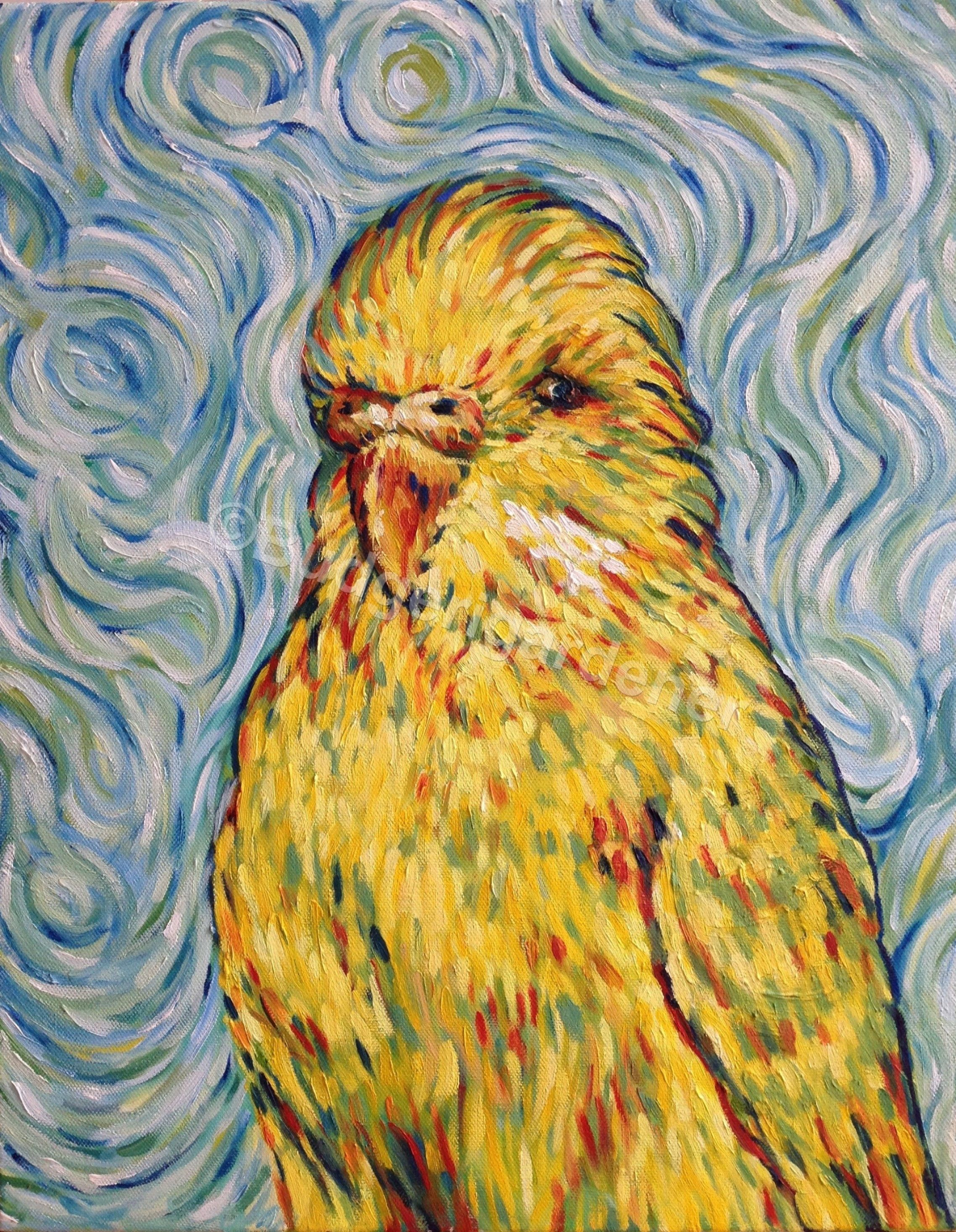 Van Gogh Budgie Budgerigar Parakeet Blank Greeting CardFamous Painting ImpressionismFrom Original Oil By Budgerigardener