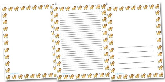 Lion Landscape Page Borders- Landscape Page Borders - Page border - free paper templates with borders