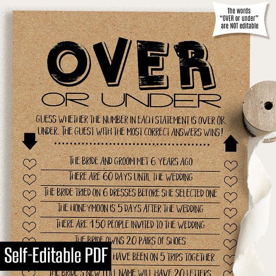Over or Under, EDITABLE Bridal Shower game, printable couples shower games, Instant download, self e
