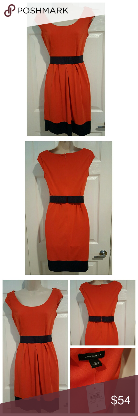 "NWT Orange & Navy Cap Sleeve Dress New with tags. Ann Taylor dress. Beautiful orange main color with Navy elastic belt and hem line. Includes thin lining underneath to prevent see through issues.   Measurements:    32"" Relaxed Bust   14.5"" Flat Waist   35"" Length  Shell - 95%, 5% Spandex Lining - 100% Polyester Ann Taylor Dresses"