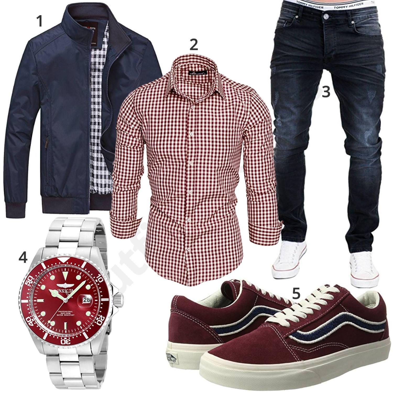 Herrenoutfit mit kariertem Hemd, Jeans und Boots | Herren