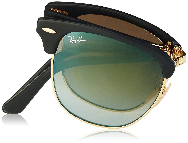 99b985a070c Ray-Ban Clubmaster Folding Sunglasses (RB2176) Black Matte Green Acetate -  Non-Polarized - 51mm