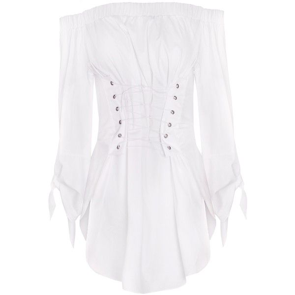 4964a84022028 Corset TIe White Off The Shoulder Top ( 99) ❤ liked on Polyvore featuring  tops