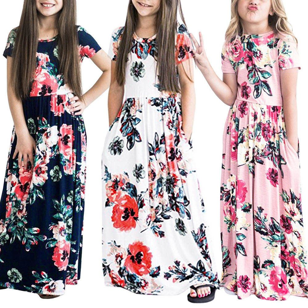 Kids Toddler Baby Girl Skater Long Dress Long Sleeve Floral Casual Party Dresses