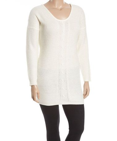 Love this Ivory Cable-Knit Tunic Sweater Tunic - Plus on #zulily! #zulilyfinds