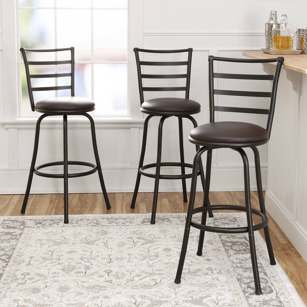 Set Of 3 Adjustable Height Swivel Bronze Finish Kitchen Dining Chair Bar Stool Bar Stools Adjustable Bar Stools High Back Bar Stools