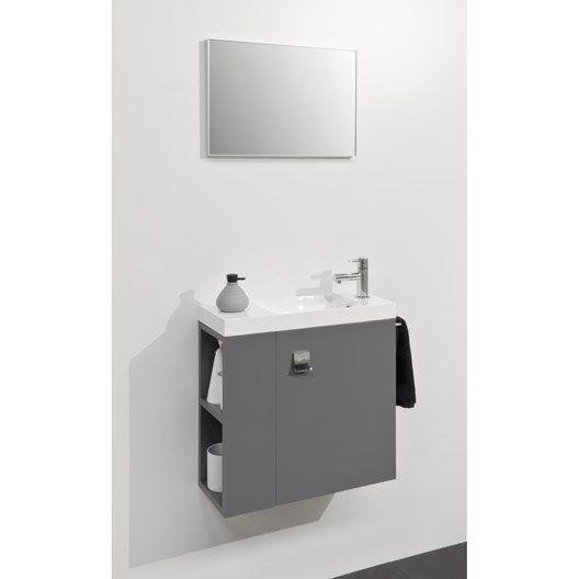 meuble lave mains avec miroir gris gris slim est sur leroymerlinfr faites le bon choix en retrouvant tous les avantages produits de meuble lave mains avec - Wc Suspendu Avec Lave Main Integre Leroy Merlin
