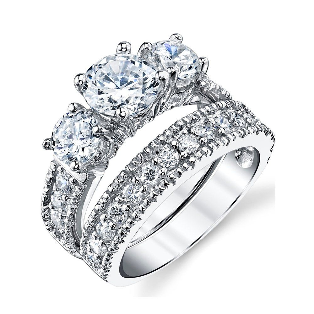 Oliveti Women's Sterling Silver Bridal Set Engagement