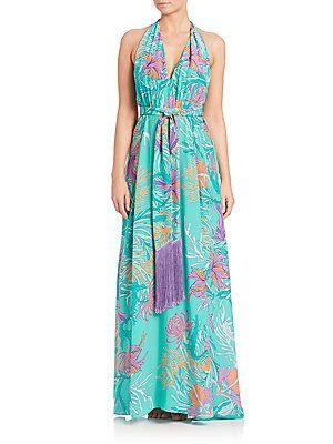 Lazul Melba Printed Silk Maxi Dress - Blue-