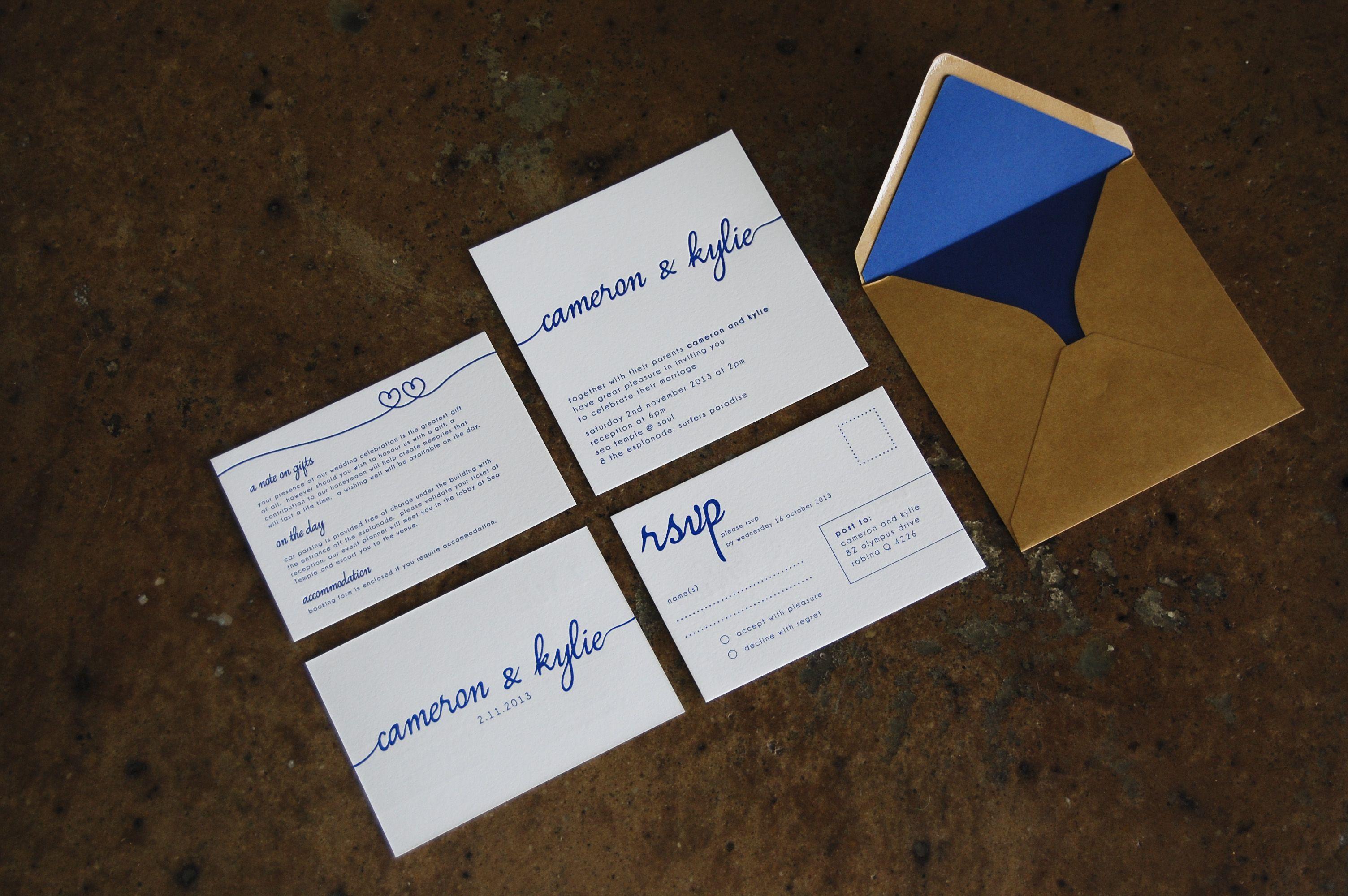 Navy And Peach Wedding Invitations: Little Peach - Scripty Navy {Letterpress}