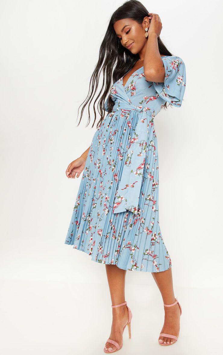 Dusty Blue Floral Pleated Midi Dress Pleated Midi Dress Maxi Gown Dress Guest Dresses [ 1180 x 740 Pixel ]