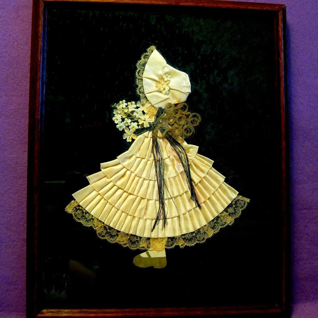 1930s Ribbon Doll Framed Picture: RL-1829: Removed #sunbonnetsue