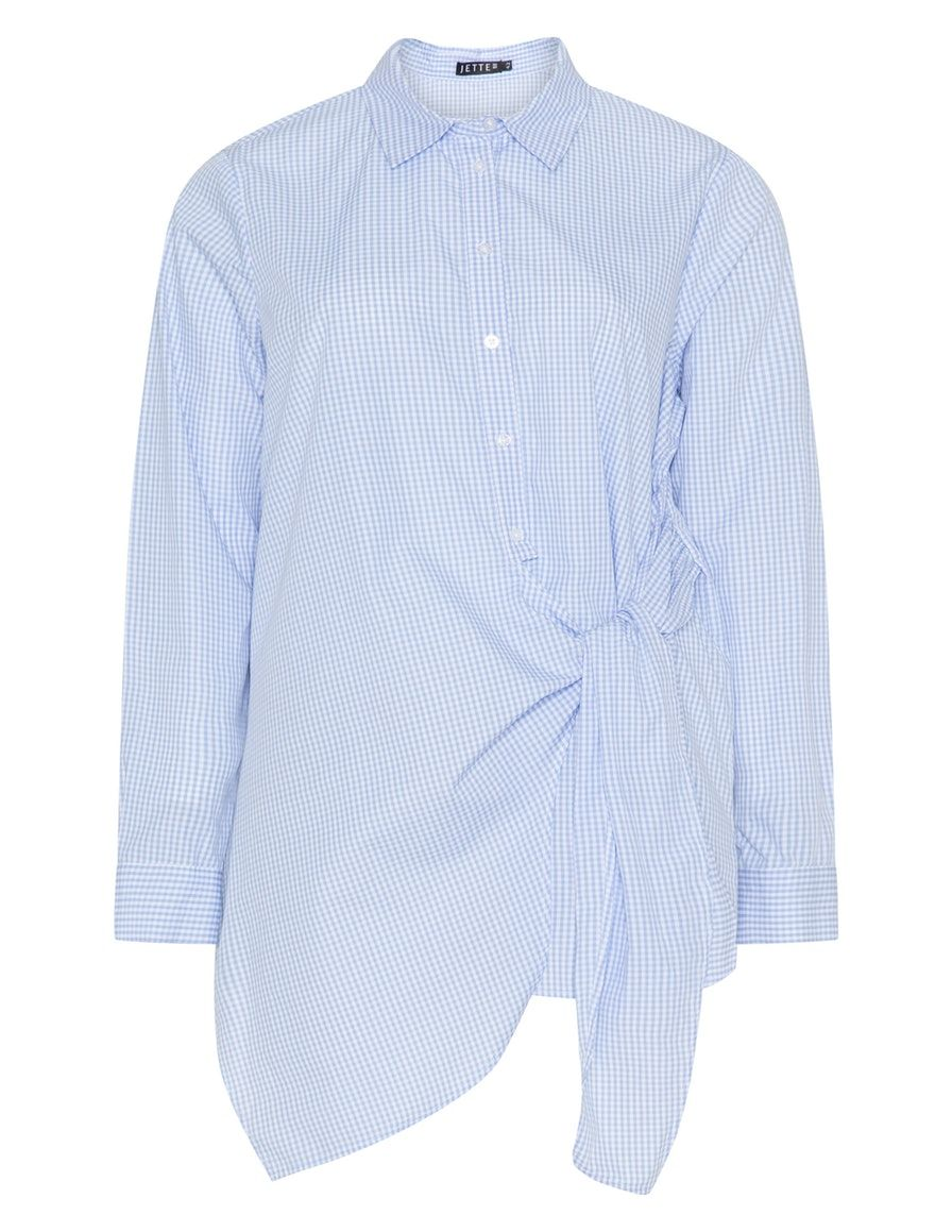 b7e37ca6fc485 Checked cotton tie detail shirt in Blue   Cream designed by Jette to find  in Category