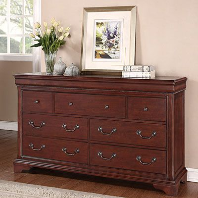 Dresser features a beautiful cherry veneer wtih rope twist detailing  Dovtail drawer joints ensure ultimate strength - Dresser Features A Beautiful Cherry Veneer Wtih Rope Twist