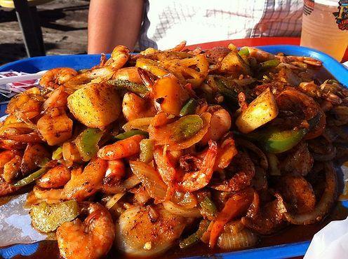 Shrimp tray at san pedro fish market world famous for Fish market san pedro