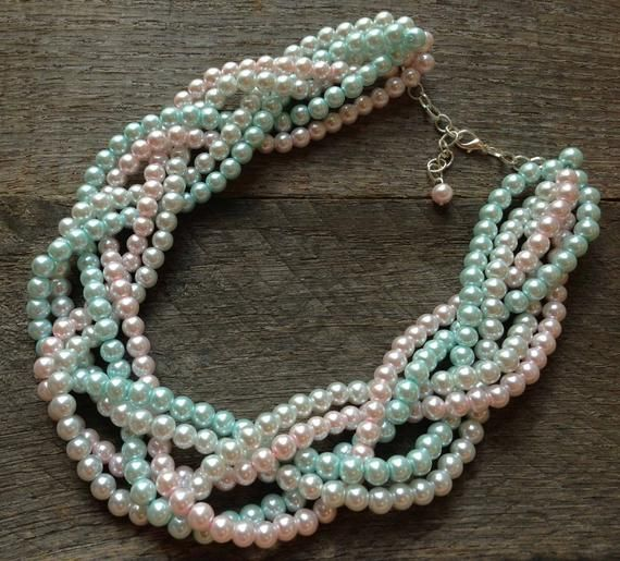 Baby Pink Blue Pearl Necklace Gender Reveal Party Baby ...