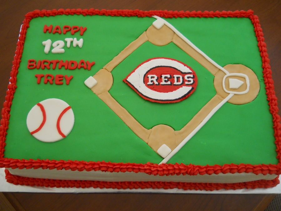 Admirable Cincinnati Reds With Images Red Birthday Cakes Red Birthday Personalised Birthday Cards Paralily Jamesorg