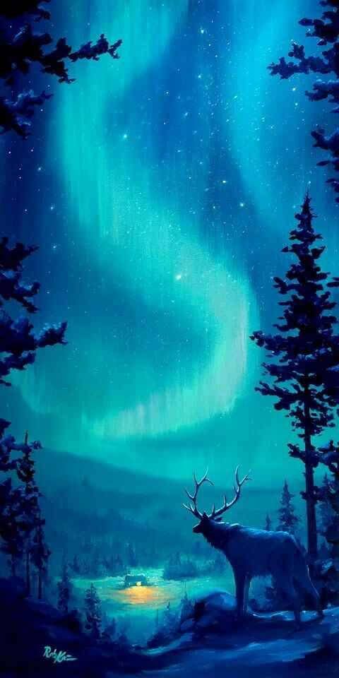 Teal galaxy | Fantasy landscape, Northern lights, Winter ...
