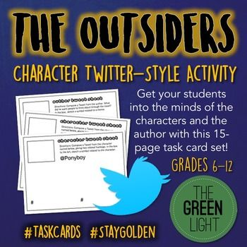 The Outsiders Twitter Style Task Cards Quizzes Bell Ring