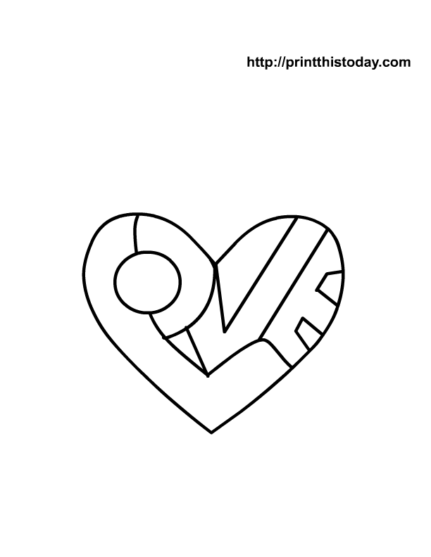 heart to color free printable heart coloring page with i love you message - Coloring Pages Hearts Love
